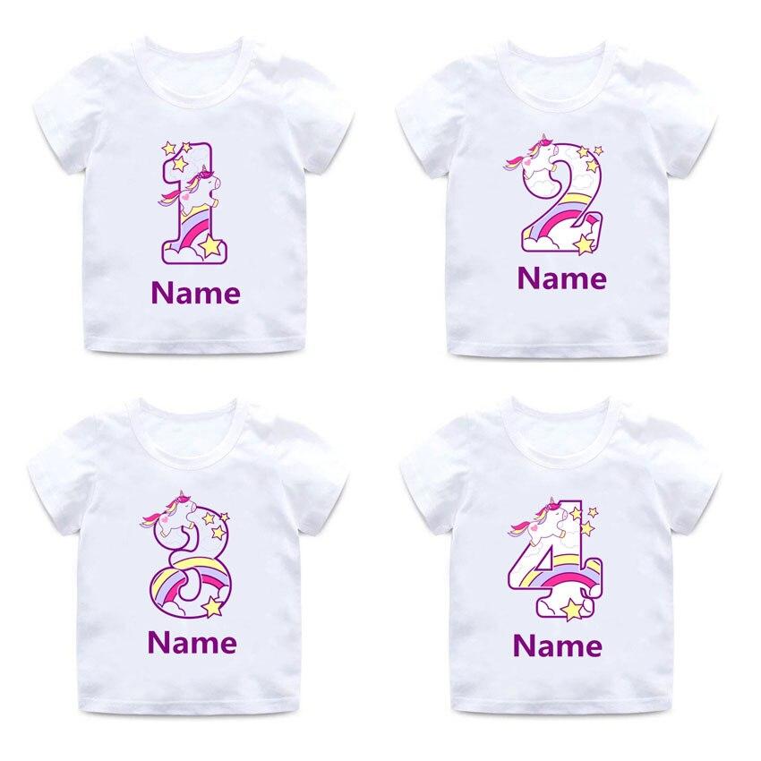 Custom Name Cute Happy Birthday Unicorn Number 1-9 Cartoon T Shirt Children Baby Boys Girls Summer Tops Birthday Present T-shirt