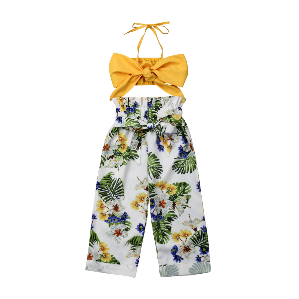 Toddler Kids Baby Girls Outfits Clothes Crop Tops +Floral Long Pants Summer Sets