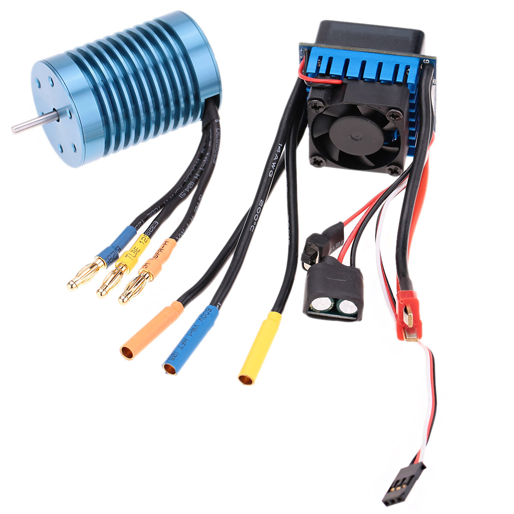 3650 4370KV 4P Sensorless Brushless Motor with 45A Brushless ESC (Electric Speed Controller) for 1/10 RC Off-Road Car 45a brushless speed controller esc w fan for 1 18 1 12 cross country car