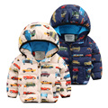 2016 fashion Boys girls kids winter jackets thick cotton hooded coat with cars character outerwear to children 2-8 y T0005
