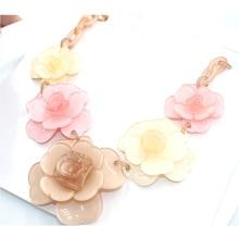 чокер Колье цветок 2016 колье акриловые ожерелья цветок ювелирный бренд многослойная дизайн цвет цепь смолаы себе ожерелье ювелирных изделий цепочки