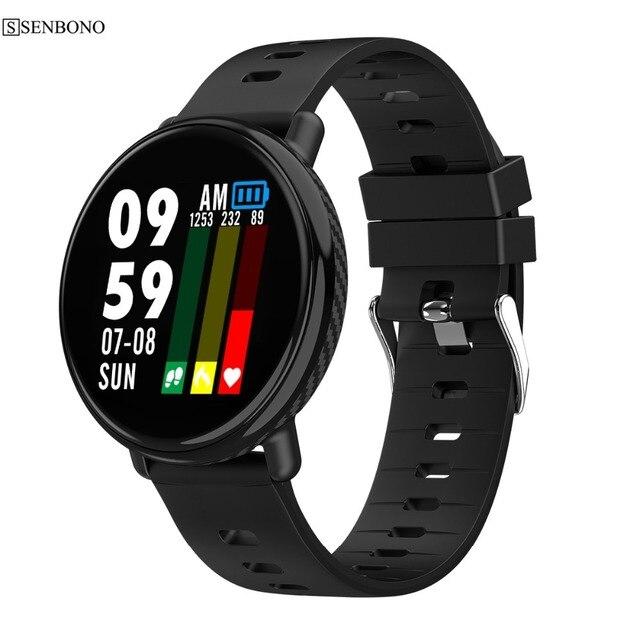 SENBONO inteligentny zegarek mężczyźni kobiety IP68 wodoodporna bransoletka pulsometr sportowy inteligentny zegar sport Smartwatch dla IOS Android