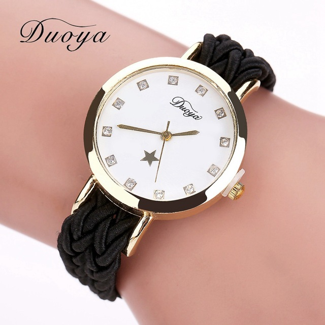 Fashion Weave Leather Watches Women Gold Rhinestone Wristwatch Casual Ladies Bracelet Watch Women Dress Quartz Watch Gift DY069