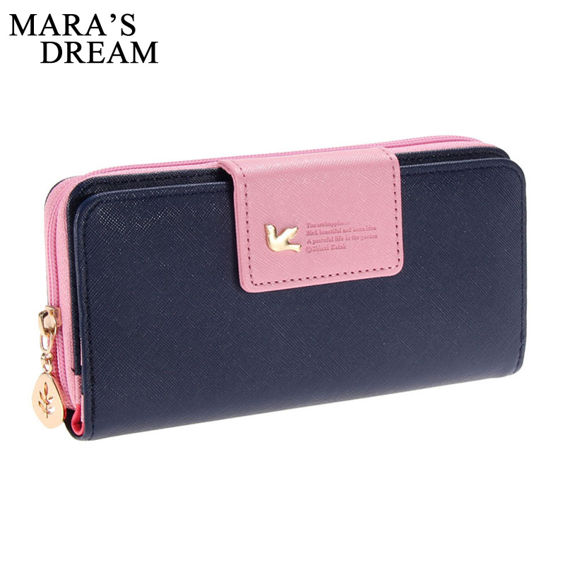 Mara's Dream Women Leather Wallet Women's Clutch Bag Hasp Wallet Zipper Long Purses Card Holder High Quality Bolsa Feminina(China)