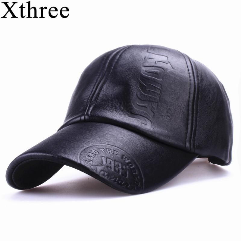 8d1bac5ca27 Xthree New fashion high quality fall winter men leather hat Cap casual moto snapback  hat men s