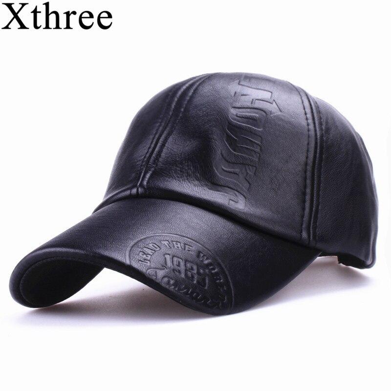 Xthree nueva moda de alta calidad Otoño Invierno hombres sombrero de cuero gorra casual moto snapback sombrero de béisbol de los hombres al por mayor