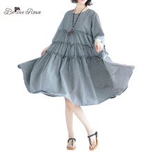 BelineRosa Women's Big Sizes Dresses England Casual Style A-Linen Cascading Ruffle Half Sleeve Dresses Female SDM0132