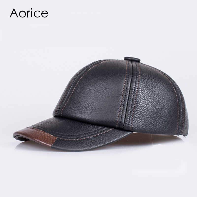 Aorice Autumn Winter Genuine Leather Men Cap Hat Brand New Baseball Caps The Whole Cow Skin Solid Adjustable Hats/Caps HL100 hl083 new new fashion men s scrub genuine leather baseball winter warm baseball hat cap 2colors