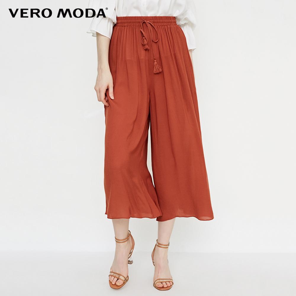 Vero Moda new loose fit tie-up three-quarter casual pants|31826J534