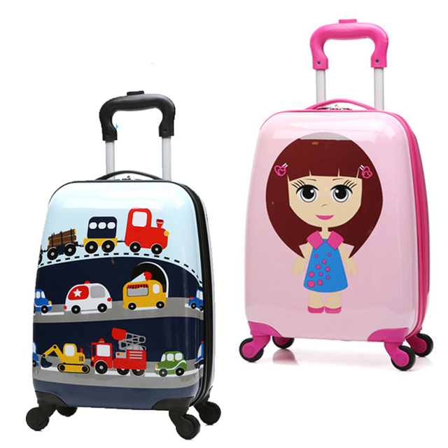 c9339cb96826 BeaSumore 18 inch Cartoon Children Rolling Luggage Spinner Kid Suitcase Boy  Girl Trolley Case Trunk Carry