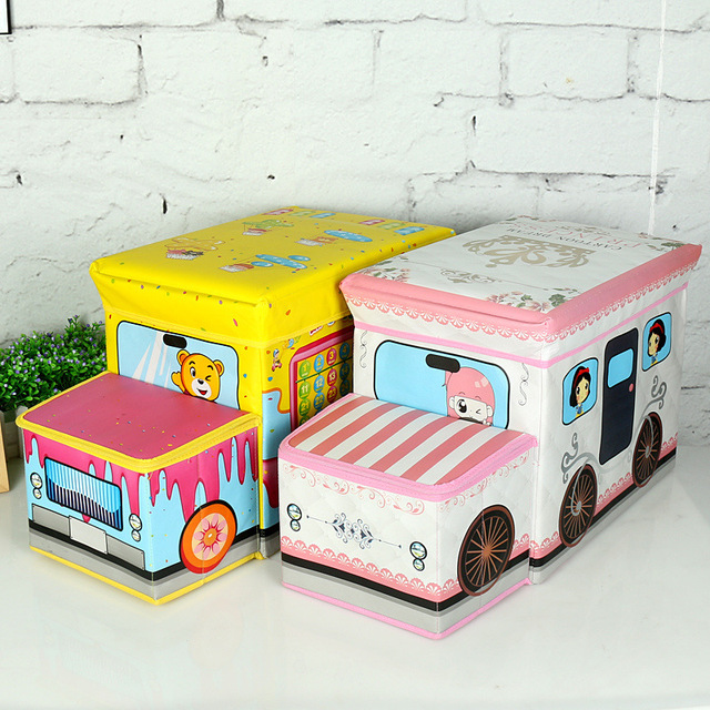 Multi Function Folding Storage Box Car Styling Stool Kids Cartoon Toys