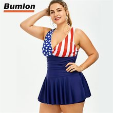 73eaeba7a63 Large Size One-Piece Suits Women Swim Suit Oversize Siamese Lady American  Flag Bikini Beach Swimwear Brazilian Biquni RL15-0017