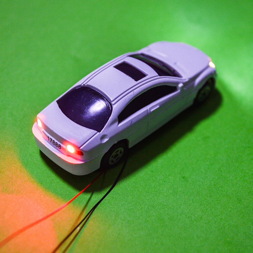 10pcs Scale 1:100 Miniature Model Light Car Plastic Model Car With LED 12V