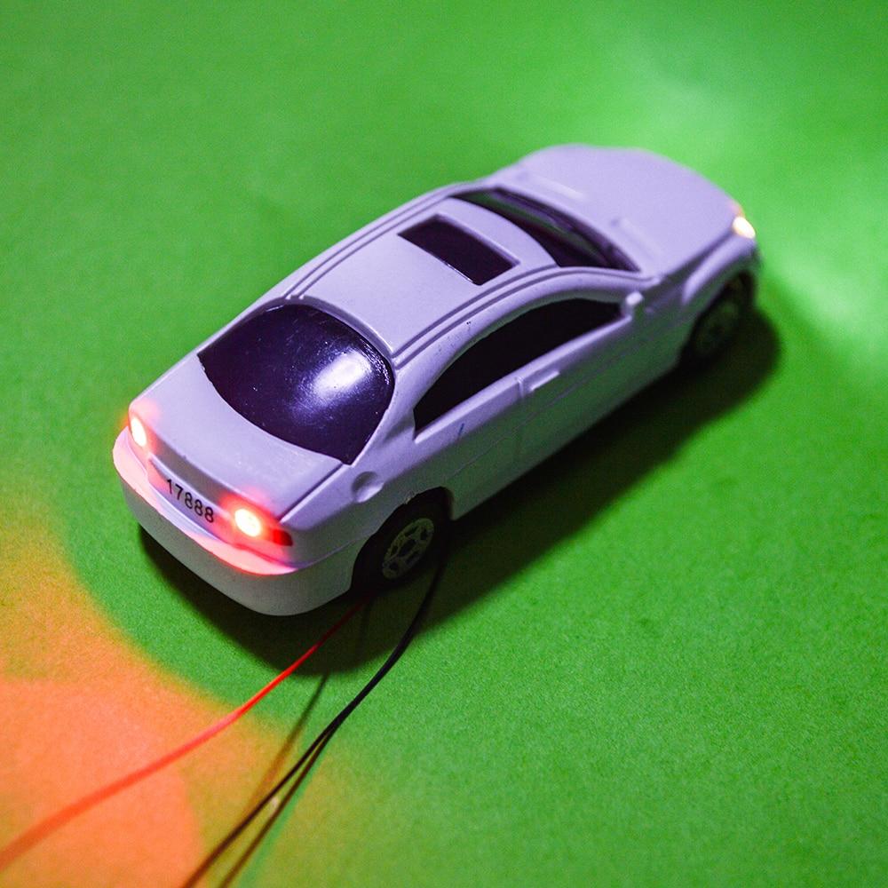10pcs Scale 1:100 Miniature Model Light Car Plastic Model Car With LED 12V