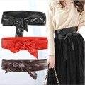 Mujeres femenino de la correa ancha faja arco dos vueltas moda salvaje decorativo suave venda del lazo del corsé cinch cinturón de cintura de cuero de imitación pretina