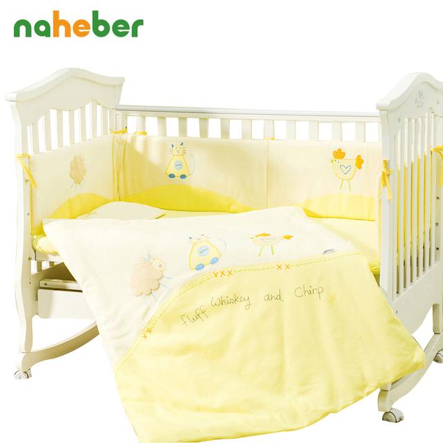 100% algodón baby bedding set cuna bedding sets 7 unidades bebé cuna bedding set de cuna