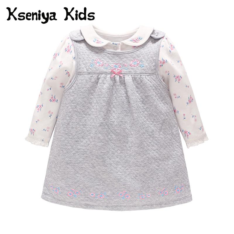 Kseniya Kids 2018 Autumn New Children's Suit Lolita clothing Clothes For Newborns Knitted Baby Clothes 2 Pcs Sets Clothing