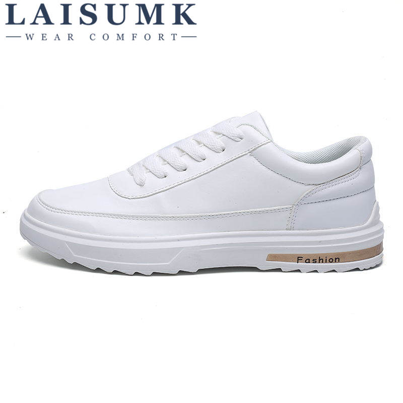 2018 LAISUMK Luxury Brand Men Shoes Casual Male Shoes White Leather Sneakers Casual Men Flats Fashion Men Shose Chaussure Homme