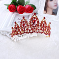 2017 New Fashion Red Crystal Rhinestone Flower Crown Baroque Headband Charm Bride Hair Jewelry Accessories Wedding Party Gifts