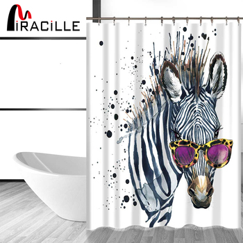 Miracille Funny Zebra with Rose Glasses Fashion Waterproof Fabric Home Decor Shower Curtain Bathroom Curtains with 12 Hooks zwbra shower curtain