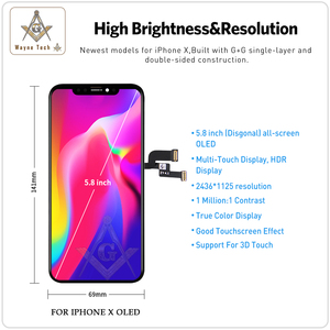 Image 5 - גבוהה באיכות OLED עבור iPhone X XS XR תצוגת OLED עבור iPhone X תצוגת החלפת מסך עם אמיתי טון משלוח חינם