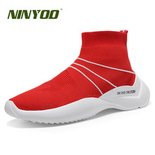 NINYOO Sport Fashion Summer EVA Star Sneakers Men Red Mesh Casual Shoes Hard-Wearing Light Lovers Sock Boots Female Footwear