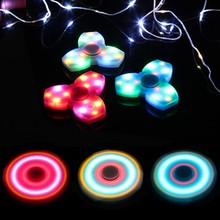 Funny 2017 Fidgets Toy Luminous and hybrid ceramic EDC Sensory Spinner For Autism ADHD Kids Tri-Spinner with LED Fidget lighting