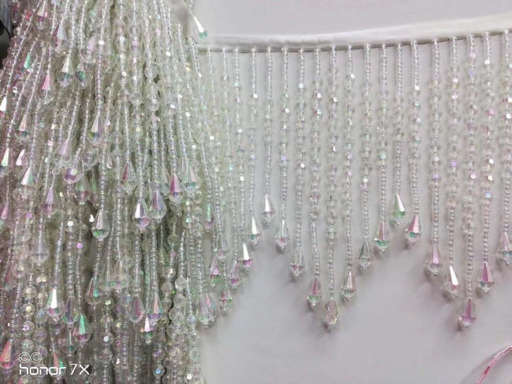 Ribbon Crystal beads tassel fringe 15cm width Latin Dress Dance Wear Macrame Trimming for wedding bridal gown dress/party sawing