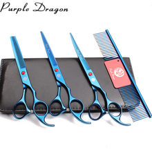 Z3003 4Pcs Set 7'' Blue Steel Comb + Cutting Shears + Thinning Scissors +UP Curved Shears Professional Pets Hair Scissors Suit 4pcs suit 7 19 5cm jp kasho professional hair hairdressing scissors comb cutting shears thinning up curved shears h3001