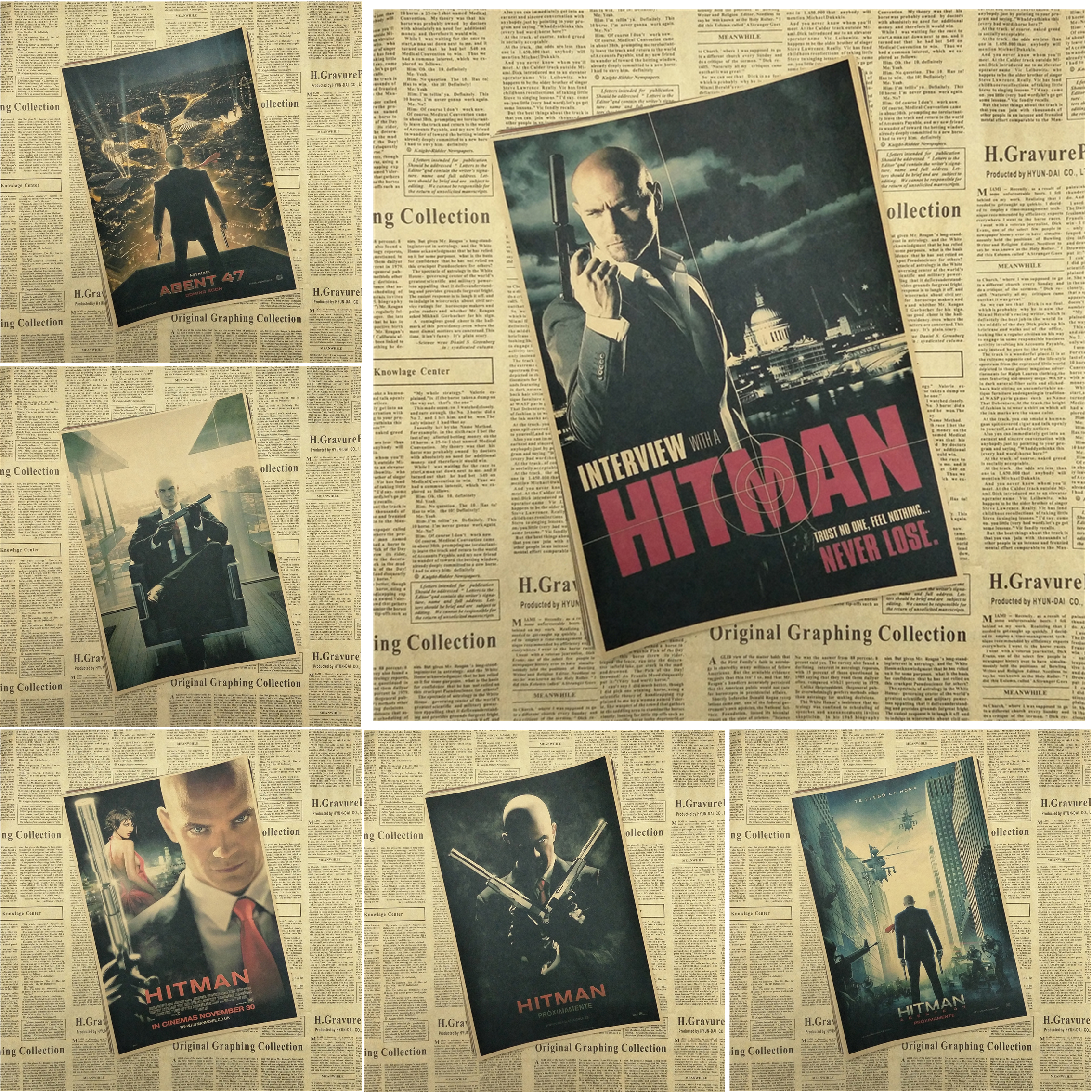 Hitman Classic Movie Kraft Paper Poster Bar Cafe Living Room Dining room Wall image