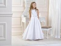 花女の子のドレスのためのウェディングドレスaライン女の子誕生日パーティードレスサテン母娘ガウンロング母maughter mresses