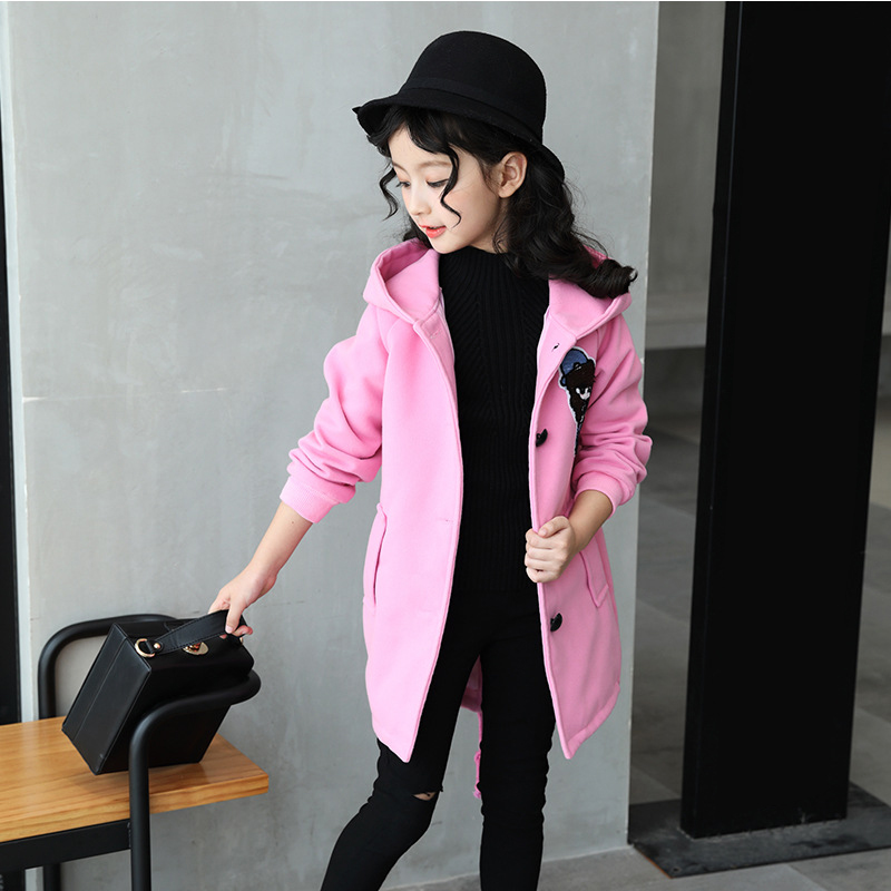 Korean Baby Girls Cute Cartoon Hooded Coats And Jackets Autumn Winter Long Sleeve Parkas Warm Casual Outerwear Kids Active Coat new men s military style casual fashion canvas outdoor camping travel hooded trench coat outerwear mens army parka long jackets