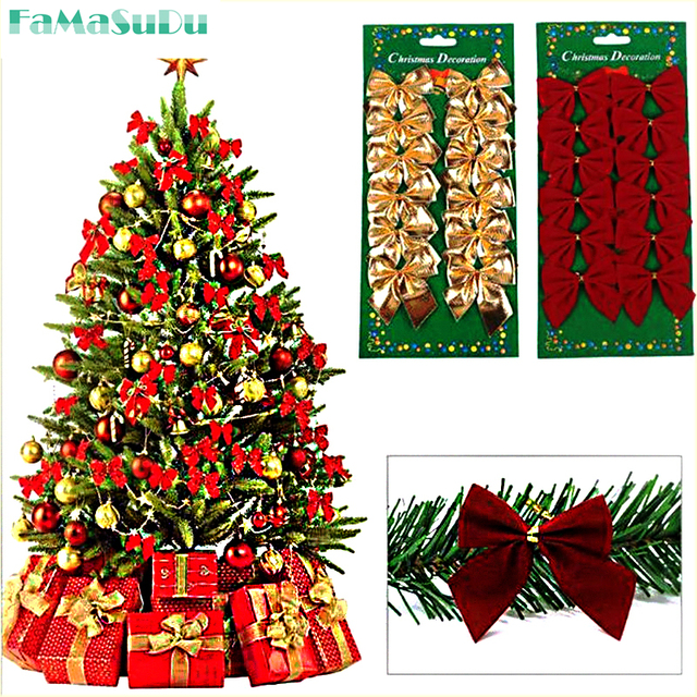 24pcs christmas tree bow decoration baubles hanging ornament red gold silver bowknot party decor christmas decoration