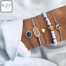 XZP BOHO 5pcs/Set Charm Sea Turtle Pineapple Heart Cuff Bangles Bracelet Set For Women Gold Metal Alloy Rope Chain Twist Bangle