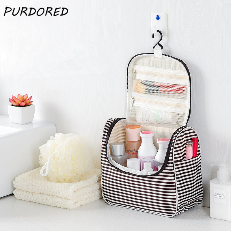 PURDORED 1 Pc Travel Stripe Cosmetic Bag Hanging Women Makeup Bag Portable Large Capacity Beauty Pouch Bags Kosmetyczka