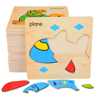 Cartoon 3D Wooden Animal Puzzle Jigsaw Board Baby Kids Toys Montessori Educational Wooden Bois Wood Puzzles