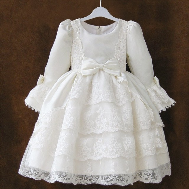 9d3d599e3 ESTILO OCCIDENTAL Bola de lujo Vestido Formal niñas blanco danza Vestido  para niñas 2 3 4