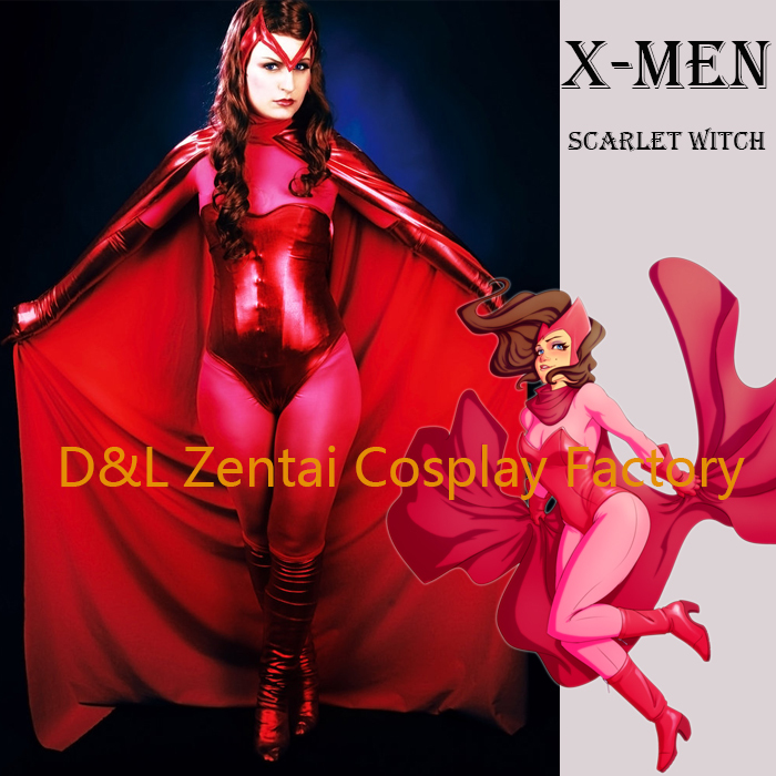 Free Shipping DHL 2017 Sexy X Men Scarlet Witch Costume Two Pieces Red Shiny Metallic Halloween Cosplay Costume With Cloak