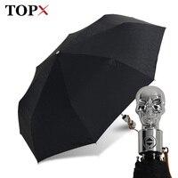 Man Umbrella Creative Style Metal Skull Head Punk Style Windproof Ultralight Sun Rain Automatic 3Folding Umbrella Rain Woman