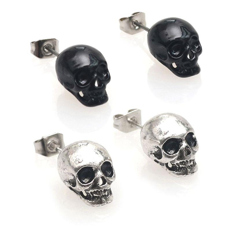 Earrings Jewelry Pendant Skull-Head Ear-Stud Retro-Decoration Rock Punk-Style Cool Vintage