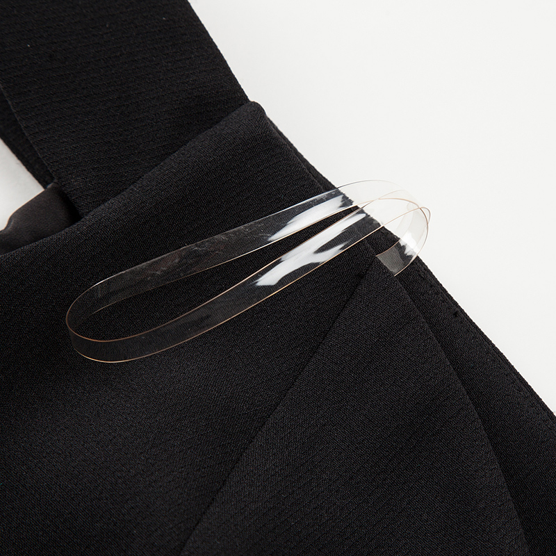 Petite Épaule Slash Solide Mode Yigelila Femmes Hors Noir 2018 62844 Asymétrique Robe Mince Genou Noire Longueur Cou D'été pq1AxqS