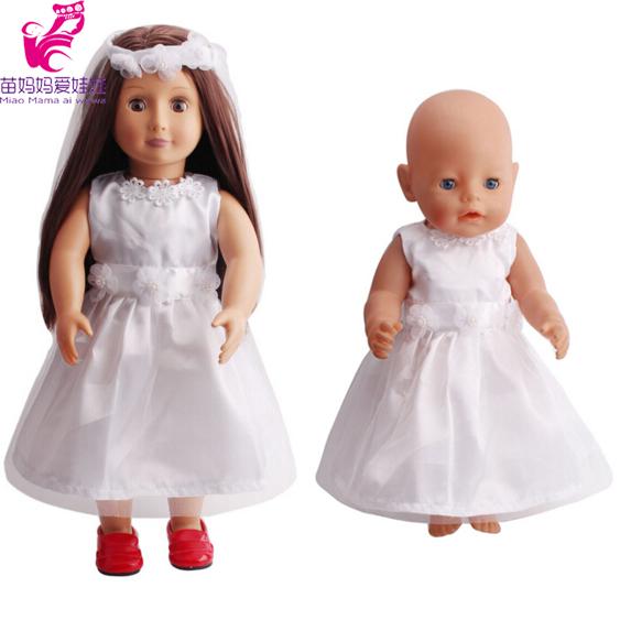 18 zoll puppe Weißen hochzeitskleid mit schleier für Amerikanische ...