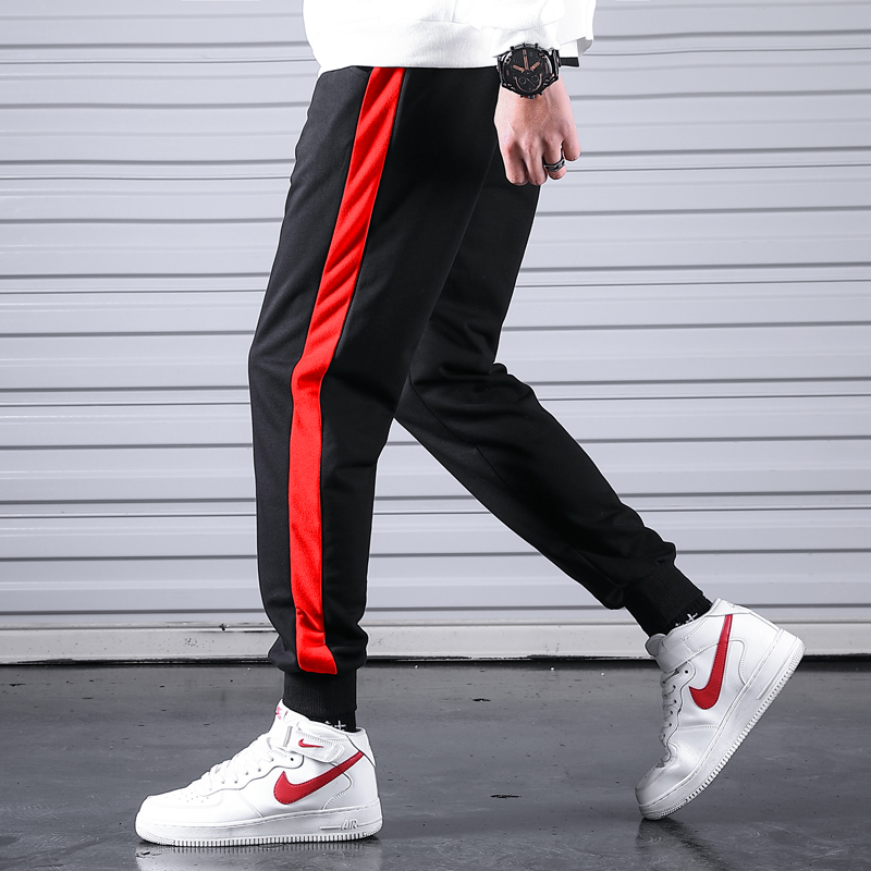 Sportswear Trousers Joggers-Pants Pantalones Fitness-Side Stripe Male Men Men's Cotton title=