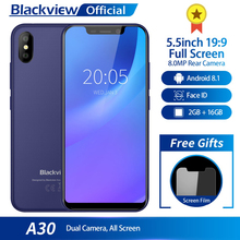 Blackview A30 5.5 بوصة 19:9 كامل الشاشة 3G الهاتف الذكي 2GB RAM 16GB ROM MTK6580A رباعية النواة أندرويد 8.1 8.0MP كاميرا خلفية الهاتف المحمول