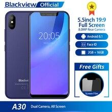 Blackview A30 5.5 pouces 19:9 plein écran 3G Smartphone 2GB RAM 16GB ROM MTK6580A Quad Core Android 8.1 8.0MP caméra arrière téléphone portable