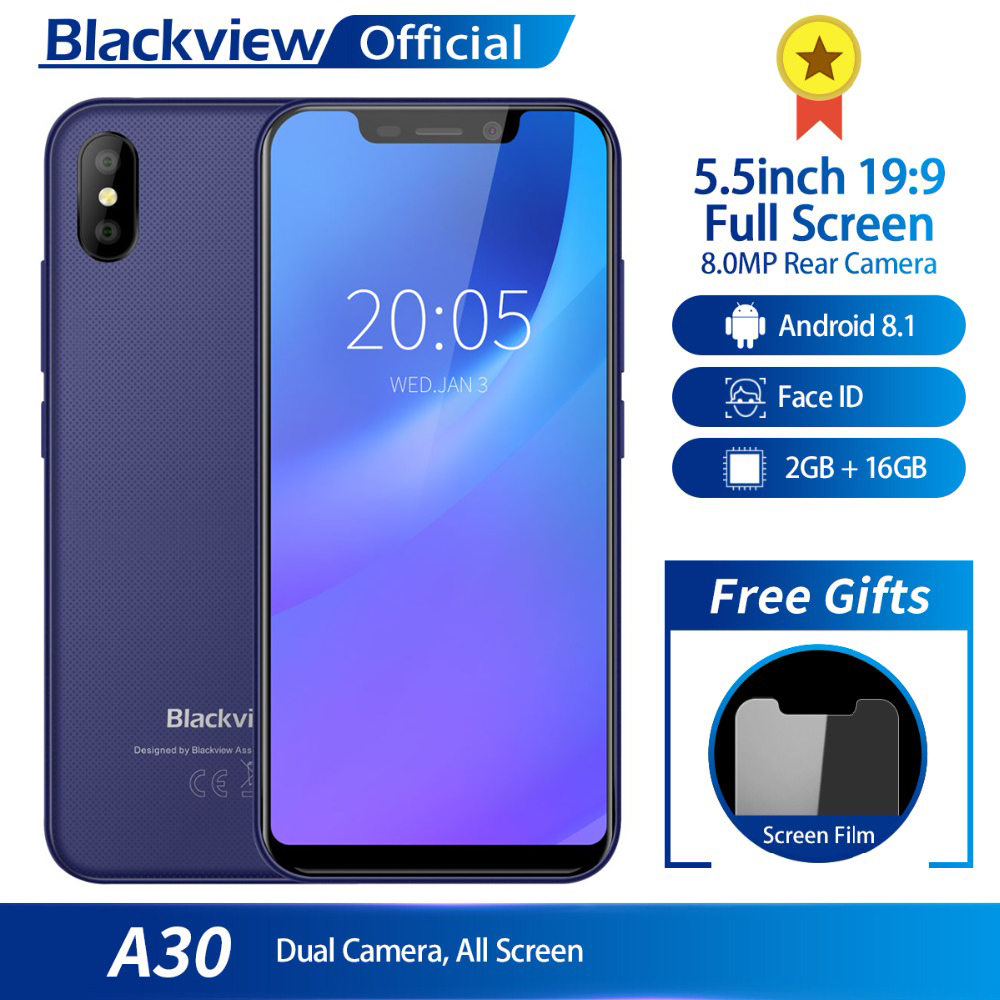 Blackview A30 5.5inch 19:9 Full Screen 3G Smartphone 2GB RAM 16GB ROM <font><b>MTK6580A</b></font> Quad Core Android 8.1 8.0MP Rear Camera Cellphone image