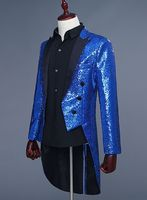 Free Ship Mens Royal Blue Red Silver Black Golden Sequined Swallowtail Suit Tuxedo Jacket Stage Performance