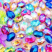 Diamantes de imitación con dos agujeros en forma ovalada, colores AB, 10x14mm, 13x18mm, 18x25, 20x30mm, para coser en vestido de novia cristal diy