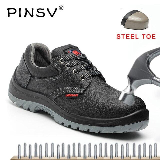 Artı Boyutu 35-48 Unisex Güvenlik Ayakkabıları Erkek iş çizmeleri Deri Çelik Ayak Emniyet Botları erkek ayakkabısı Siyah Ayak Bileği iş çizmeleri PINSV