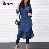 BEFORW 2018 New Autumn Winter Blue Denim Dress Women Long Sleeve Button Shirt Dresses Female Casual Irregular Dress